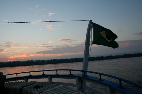 Sunrise on the Rio Negro from the topdeck of the Slowboat