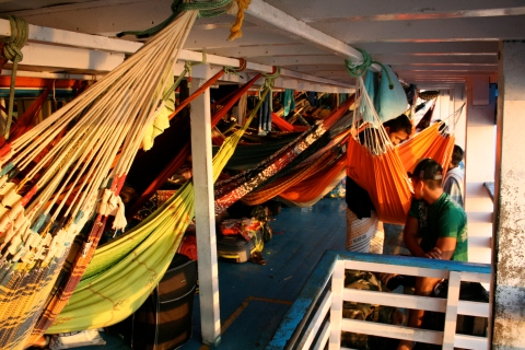 sleeping on the slowboat from Manaus