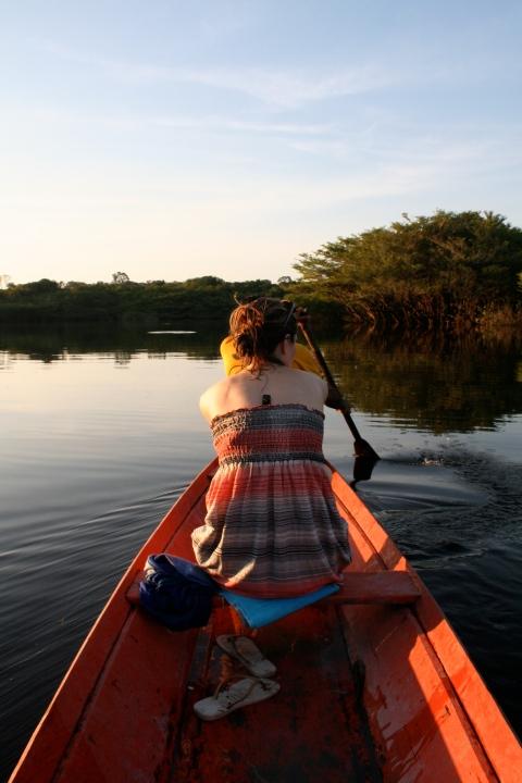 Rosana in the red canoe