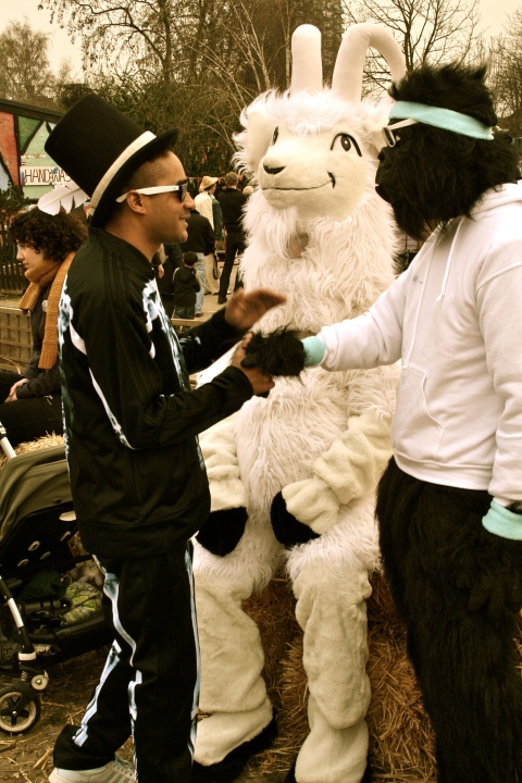 Boris and Jimmy the Goat meet local rapper at Goat Race!
