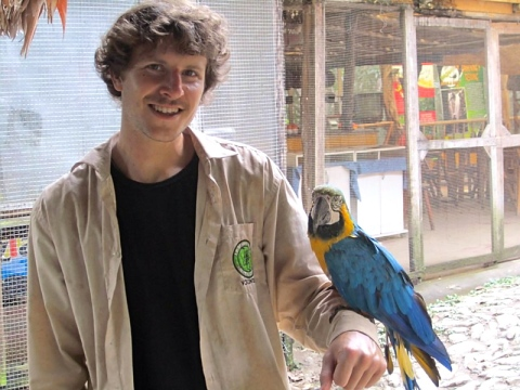 Dave with the rescued animals at La Sende Verde