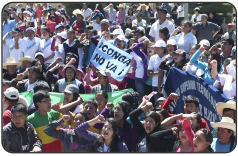 Thousand of locals for the district of Bambamarca marching in protest against the Conga mining project, in Peru